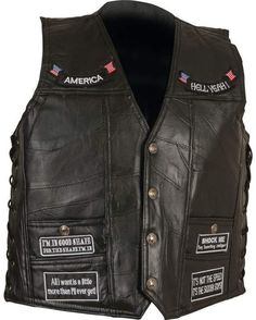 diamond plate rock design genuine buffalo leather concealed carry vest with patches - extra large #lxnp
