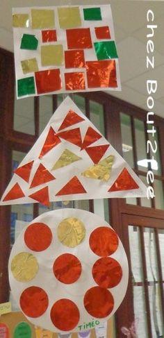 Travaillant sur les formes géométriques et approchant de la période de Noël, j'ai combiné les 2 ! J'ai donné 3 formes découpées dans du canson , à chaque élève (un rond, un carré, un triangle) Puis une barquette avec plein de formes découpées dans du...