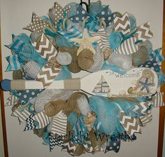 Summer Welcome Burlap and Mesh Wreath Beachy by StarlightWreaths