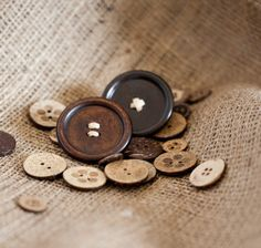 Brown buttons and burlap