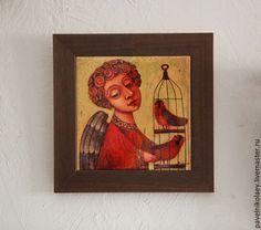 """Купить """"Ангел с птичками"""", авторская печать - желтый, подарок, подарок на день рождения"""