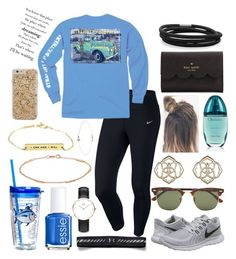 """""""OOTD for Today"""" by bowhunter1498702 ❤ liked on Polyvore featuring NIKE, Southern Tide, Essie, Ray-Ban, Kendra Scott, Calvin Klein, Under Armour, Kate Spade, Daniel Wellington and BillyTheTree"""