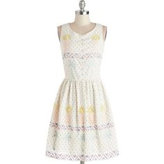 ModCloth Mid-length Sleeveless A-line Be Who Uke Are Dress (145 BRL) ❤ liked on Polyvore featuring dresses, apparel, fashion dress, white, white dress, white embellished dress, mid length dresses, cotton dresses and white polka dot dress