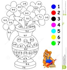 Educational Page With Exercises For Children On Addition And Subtraction. Need To Paint Image In Relevant Color. Stock Vector - Illustration of exercise, color: 91448213 Kindergarten Addition Worksheets, First Grade Math Worksheets, Kindergarten Activities, Preschool Activities, Preschool Learning, Math Coloring Worksheets, Color Puzzle, Educational Activities For Kids, Art Drawings For Kids