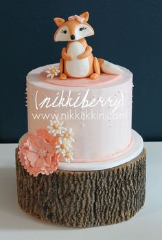 Baby Fox Cake Topper by nikkiikkin on Etsy. So cute! Would be ideal for a woodland themed baby shower or birthday party!