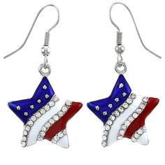 Patriotic Red White Blue American USA Flag Star Dangle Drop Earrings... (12 CAD) ❤ liked on Polyvore