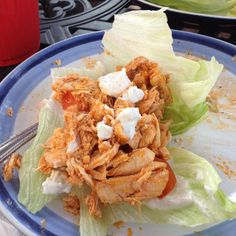Brian's Famous Buffalo Chicken lettuce wrap? With goat cheese Greek yogurt and cucumber spread!   Grilled chicken tossed in franks hot sauce and margarine