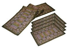 Frank Lloyd Wright Martin House Bursar's Skylight Tapestry Table Runner & 4 Placemats Set