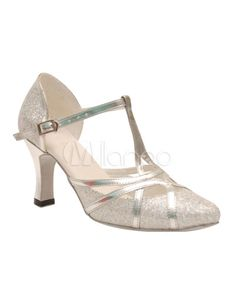1920s Heels Shoes:  Silver T-Strap Pointed Toe Sequined Cloth Woman's Latin Shoes
