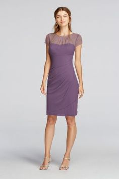 Modest with a modern twist ! This adorable dress will have you looking as confident as you feel!  Illusion ruchedhigh neckand cap sleeves providejust the right amount of coverage!  Mesh fabric creates a relaxedfeel for all night dancing.  Fully lined. Back zipper. Imported. Dry clean only. To protect your dress, try our Non Woven Garnmet Bag