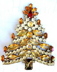 VINTAGE Brass Christmas Tree Brooch SIGNED BIJOUX MG 3 1/4 tall 2 3/4 wide
