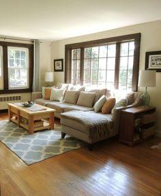 Living Room with Dark Trim Windows: