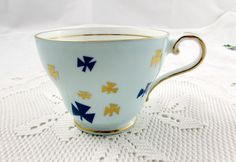 Aynsley Orphan Tea Cup, Blue with Trefoil, Girl Guide Tea Cup, Replacement Tea Cup, Teacup ONLY, No Saucer