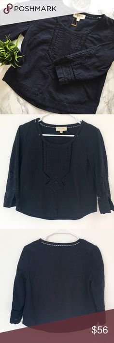 🍃Anthropologie Moulinette Soeurs Navy Blue Top EUC no flaws gorgeous and extremely well made boho peasant top by Moulinette Soeurs from Anthropologie. 100% cotton. Beautiful cut or embroidery details. 3/4 length slight bell sleeves. Slightly cropped fit. Size 4. Please feel free to ask any questions before purchasing. I am happy to provide measurements/photos upon request! 😊  ❣️Open to Offers ❣️No Trades ❣️Smoke Free Home ❣️Bundle Discounts! 15% off 2+ items Anthropologie Tops Blouses