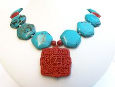 Turquoise Statement Necklace Bold Turquoise Jewelry by polishedtwo