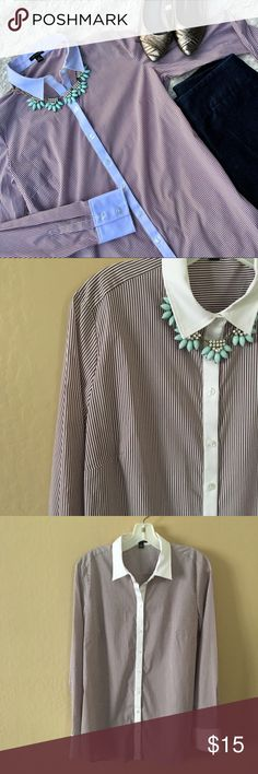 """ANN TAYLOR Striped Button-Down Dress Shirt Plum Purple/Maroon Striped Shirt With White Collar and Trim. Please note that there is an area of faint bleeding on the left collar as ashown in photo. No additional flaws. Work, Career wear. Length: 26.5"""", Pit to Pit: 20"""", Sleeve length: 25.5@. Size 10 is equal to a larger medium. ✨OFFERS WELCOME✨ Ann Taylor Tops Button Down Shirts"""