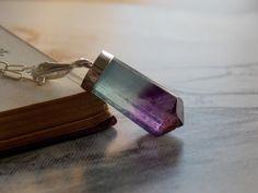 Fluorite Point Crystal Pendant Necklace, Sterling Silver, Modern, Minimalist, Gemstone Layering Necklace by kalypsocreations on Etsy