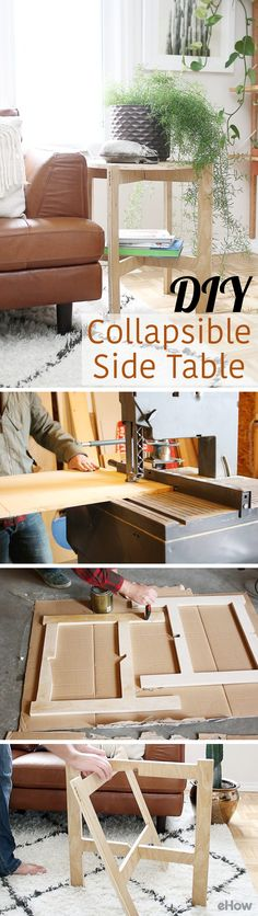 This DIY collapsible side table is perfect for any home, especially for small spaces that need the flexibility! It's modern, sleek and fully functional. http://www.ehow.com/how_12342924_diy-spacesaving-collapsible-side-table.html?utm_source=pinterest.com&utm_medium=referral&utm_content=freestyle&utm_campaign=fanpage