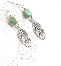 Feathers Turquoise Earrings