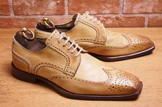 STEFANO BRANCHINI  men's leather leather beige wing tips