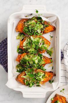 Twice Baked Sweet Potatoes with Broccoli