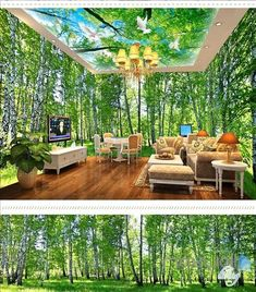 wall mural decal forest virgin forest morning sunrise theme space entire room wallpaper wall mural decal home interior design pictures hyderabad 3d Floor Art, Floor Murals, 3d Wallpaper For Walls, Floor Wallpaper, Home Room Design, Home Interior Design, House Design, 3d Sticker, Bubble House