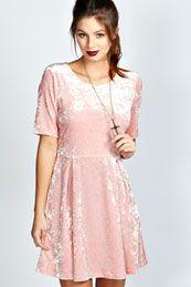 Harriet Velvet Short Sleeve Skater Dress