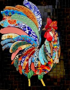Bottle Cap Art – Farm Rooster No. Mosaic Animals, Mosaic Birds, Butterfly Mosaic, Mosaic Flowers, Chicken Quilt, Chicken Art, Mosaic Crafts, Mosaic Projects, Mosaic Ideas