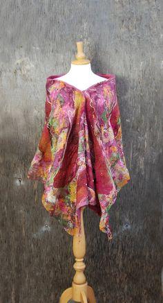 Felted scarf Nuno felted scarf Felt shawl merino wool chiffon silk pink orange yellow maroon felted art  felt wool silk scarf spring scarf