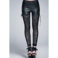 Leggings Gothique de la marque Devil Fashion orné de dentelle ainsi que de laçages sur les côtés pour un style très Chic et Sexy! #Vetement #Gothique #Romantique