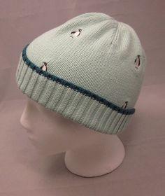 Lands End Knit Hat Beenie Cap Mint Green Penguins Medium 10 12 Girls Boy Winter #LandsEnd #Beanie