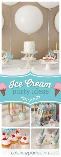 Take a look at this perfect for summer Ice Cream birthday party! The cupcakes are so pretty!! See more party ideas and share yours at CatchMyParty.com