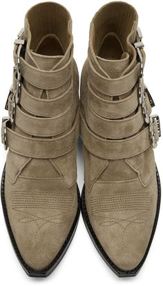 Toga Pulla - Khaki Suede Four-Buckle Western Boots
