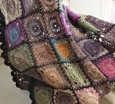 beautiful muted colours ... granny square afghan