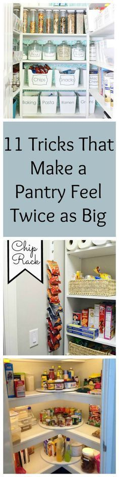 11 Organization tricks that make a pantry feel twice as big Do you have a small pantry space? Try these tricks for gaining extra storage space in your pantry and keep it looking organised! - Own Kitchen Pantry Pantry Organisation, Pantry Storage, Kitchen Organization, Organization Hacks, Kitchen Storage, Pantry Ideas, Extra Storage, Food Storage, Refrigerator Storage