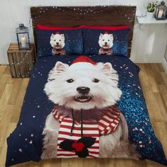 Westify your bedroom this Winter with this superbly crafted Christmas Westie Bedding Set. This eye catching Westie Duvet set comes in Single bed size, with one
