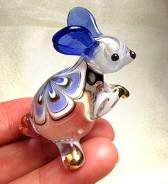 Blue RABBIT Handmade Blown ART GLASS animal Figurine Miniature GIFT CUTE