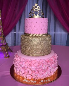 Made this princess 3 tier cake with sugar paste gold crown and ruffled petal bottom tier.