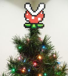 Mario Bros Piranha Plant Perler Bead Christmas by LighterCases, $30.00