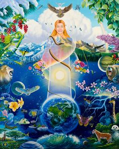 """Kins domains (family homesteads) - national idea of Russia, presented by Anastasia in """"The Ringing Cedars of Russia"""" book series. Dream Fantasy, Fantasy Art, Chakra Art, New Earth, Higher Consciousness, Visionary Art, Art Posters, Above And Beyond, Gods And Goddesses"""