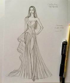 Pencil sketch unfinished gorgeous naomi campbell wearing chic structured atelier versace gown f w 16 17 at the golden globes fashion design studio atelier christian dior 21 new ideas fashion design Dress Design Drawing, Dress Design Sketches, Fashion Design Drawings, Fashion Sketches, Dress Drawing, Dress Designs, Drawing Sketches, Fashion Drawing Dresses, Fashion Illustration Dresses