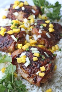Polynesian Chicken Thighs with Mango Salsa ~ Ingredients: 8 chicken thighs with skin on, 1 Tbsp fresh ground black pepper, 2 tsp garlic powder, 1 tsp kosher salt, 1 Tbsp olive oil, 2 Tbsp brown sugar, 2 Tbsp soy sauce.  For The Mango Salsa: 1 large mango diced, ½ of one sweet large onion diced, 1 Tbsp cilantro chopped, 1 jalapeno seeded and finely diced.