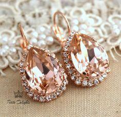Pink blush peach drop lever back earrings rhinestone swarovski crystal jewelry - 18k Rose gold plated dangle earrings