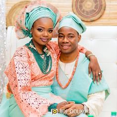 love their aqua and light coral colors - Nigerian traditional clothes