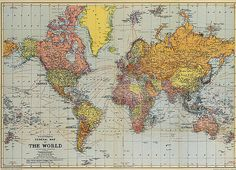 28 x 20 in. Vintage World Map Poster by typeofprint on Etsy, $10.00
