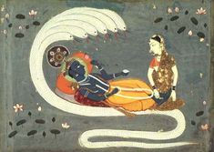 Vishnu floating on the cosmic ocean which lies outside of time and space. He is slowly awakened from his dream by the massaging of his feet by Lakshami , his consort. This in turn stimulates  Brahma, the creator god, to grow from his navel.   It is Brahma who makes the various sequences of the world vision each of which will come to an end with Vishnu falling back to sleep as Brahma disappears into his navel once again.