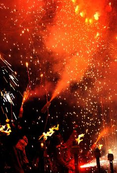 Correfoc (Fire-runs). In the correfoc, a group of performers will dress as devils and light fireworks. While dancing, they will set off their fireworks among crowds of spectators.