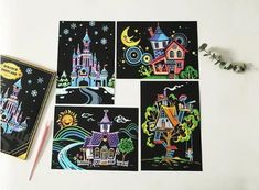 Art Painting Paper Scratch Kits Magic Scratch Off Painting With Drawing Stick For Kids Home Hanging Decoration Paint By Number Kratz Kunst, Puzzles, Diy Postcard, Diy Christmas Gifts For Kids, Scratch Art, Shops, Drawing Websites, Assemblage, Painted Paper