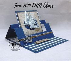Congrats Swing Easel-Sneak Peek Sailing Home; Congrats Swing Easel by Wendy Lee, sneak peek, Tutoria Masculine Birthday Cards, Masculine Cards, Fun Fold Cards, Folded Cards, Tarjetas Pop Up, Stampin Up Karten, Nautical Cards, Beach Cards, Retirement Cards