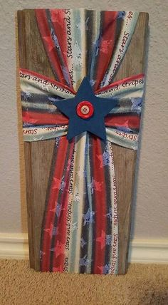 Patriotic Fabric & Wood Cross Blue by GeekOnAFarm on Etsy